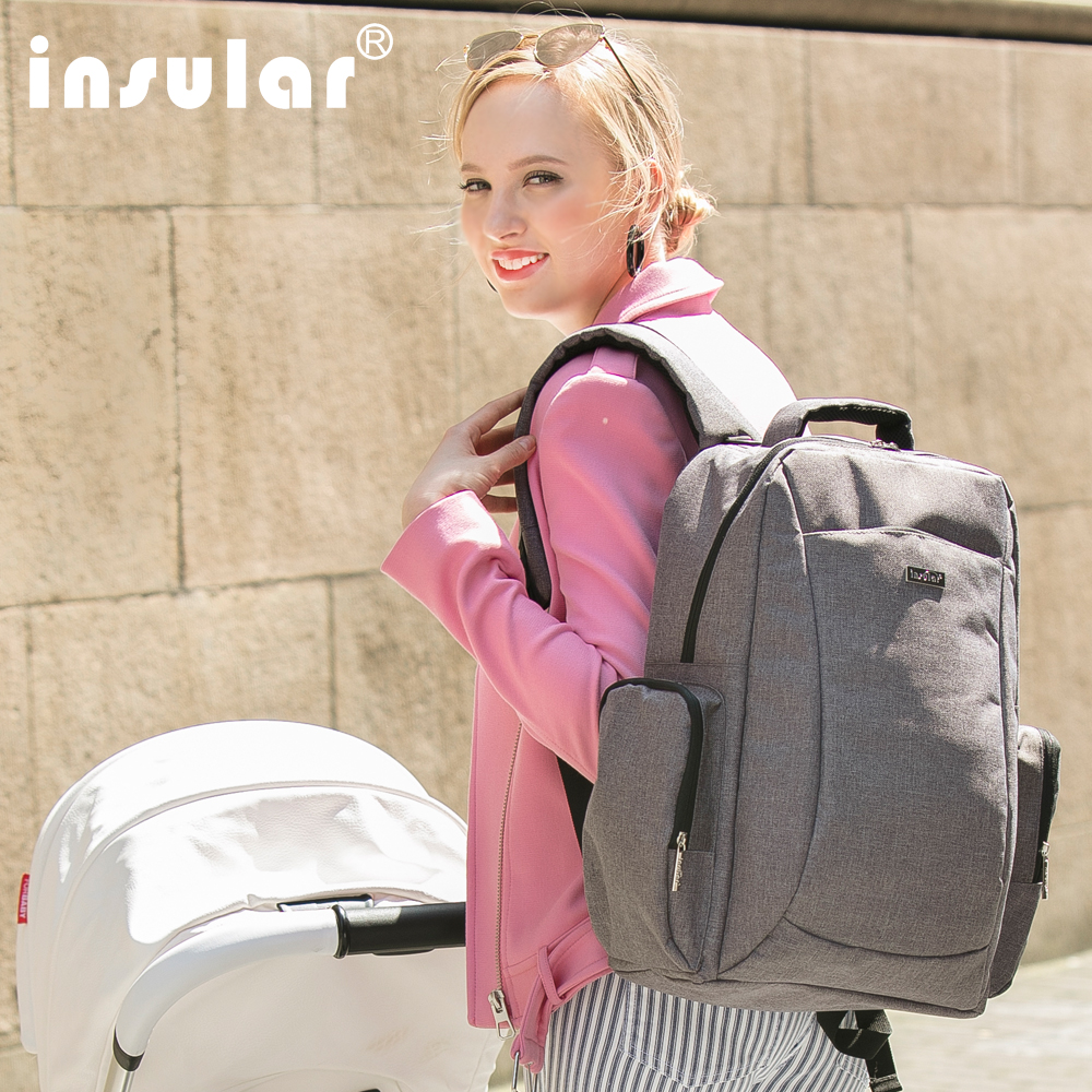 2018newest Diaper Bag Pure Color Men's Mummy Baby Care Nappy Bag 44CM Large Capacity Waterproof Business Backpack Travel Bag