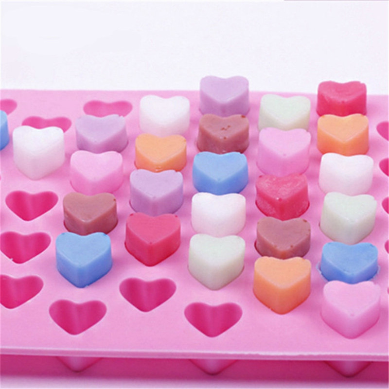 55 Holes Nonstick Silicone Chocolate Cake Love Heart-shaped Baking Molds Jelly Ice Heart Mold 2019 Chocolate Mold Fondant Molds