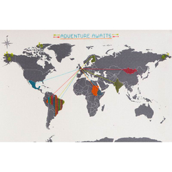 Cross Stitch World Map of the World Embroidery Needlework Travel Map DIY Office Shcool Decoration Map Broider Color Line Mark