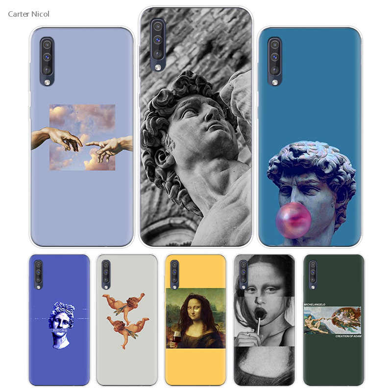 Transpatrent Silicone Case for Samsung Galaxy A50 A70 A30 M30 M20 A10 A20 A40 M20 Cover Phone Michelangelo Art Statue Aesthetic