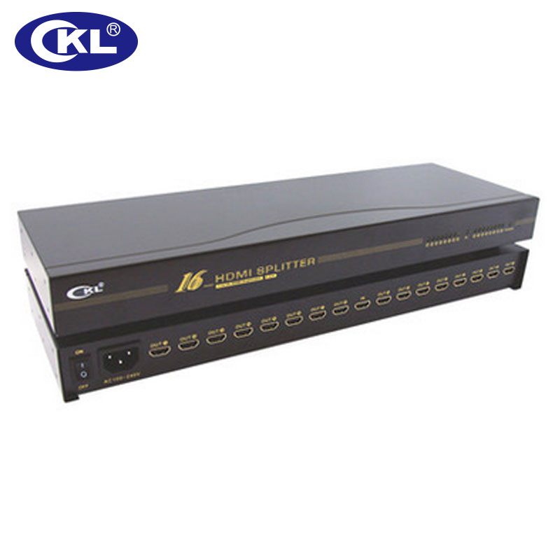 CKL 1x16 HDMI Splitter Rack Mount Metal Case Supports HDMI 1.4V High Resolution 3D 1080P For Xbox PS3 PS4 PC DV DVD HDTV HD-916