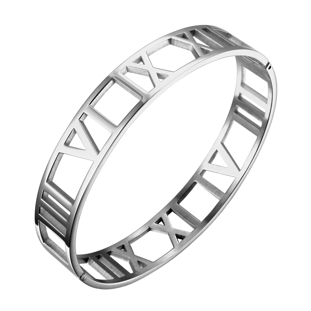 JOVO New Fashion 316L Stainless Steel Bracelets for Women Roman Number Design Wide Cuff Bracelets & Bangle Female Wedding Gift 6