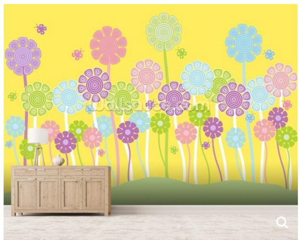 Customized children wallpaper, Pastel Flowers Nursery for children\'s ...