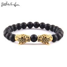 Mały MingLou luksusowe CZ cyrkon podwójne Leopard głowy urok czarne koraliki mężczyźni Strand bransoletki i bransolety dla mężczyzn biżuteria