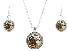 Hot Selling necklace earring Clock Watch Stacking Glass Cabochon Pendants Steampunk Necklaces Jewelry sets 100% handmade