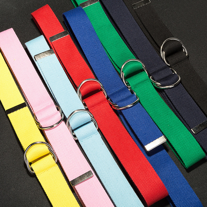 110cm long D ring buckle   belt   Harajuku zipper all-match ultra long canvas   belt   lovers brief solid color long   belt