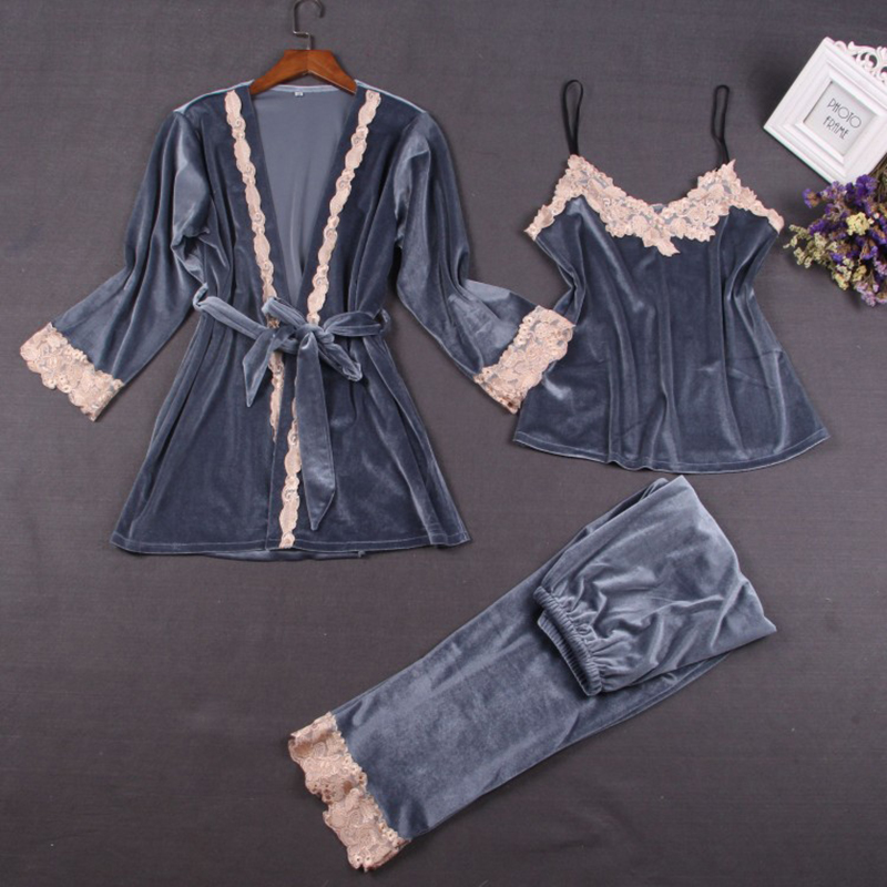 Sexy Pleuche Women   Pajamas     Sets   3 Pieces Camisole+Robe+Pants Pijama Mujer Autumn Winter Velvet Sleepwear Pyjama Femme