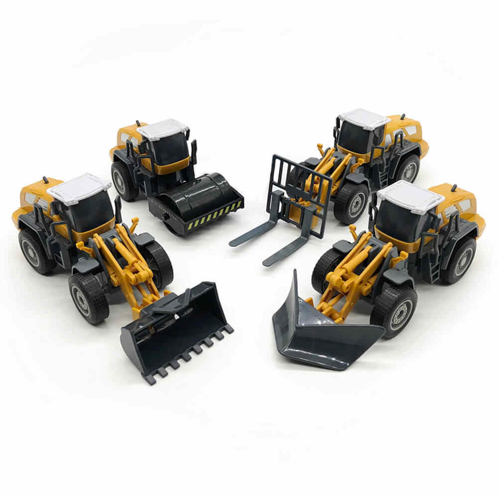 Diecast Engineering Vehicle Tractor Toy Truck Car Model 1:55 Bulldozer Snow Clearer Forklift Road Roller Car Set Gift Boy Kids