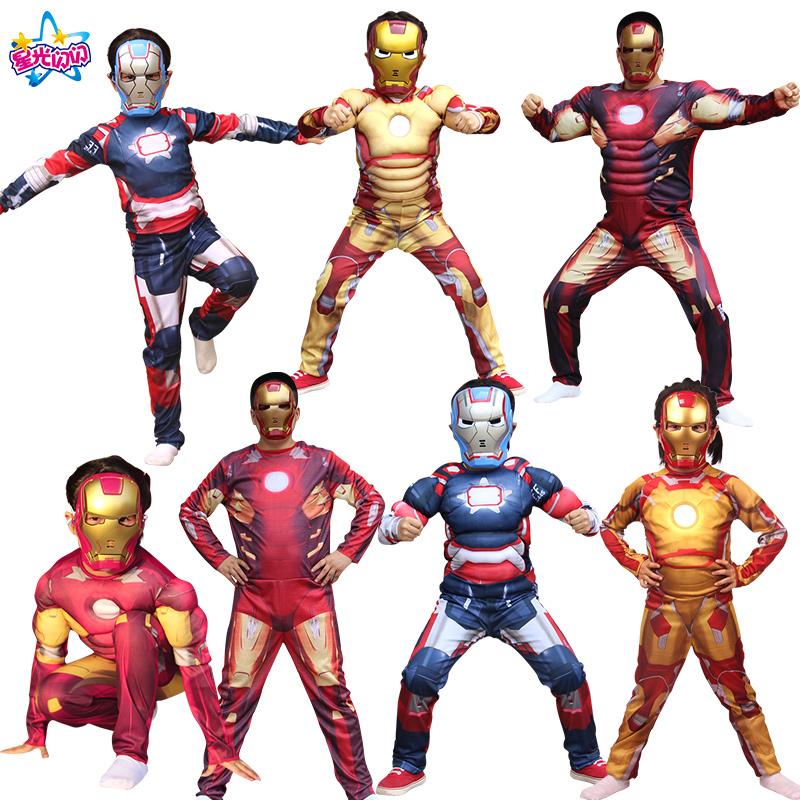 NoEnName Free shipping Costume Cosplay Anime Characters Mask Heroes Halloween Costume For Kids Carnival Festivals Iron man suit