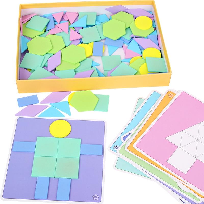 190Pcs/Set Kids Wooden Puzzle Macaron Color Jigsaw Puzzle ...