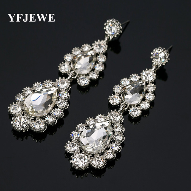 Yfjewe White Crystal Drop Earrings For Women Vintage Flower Silver Plated Bride Wedding Jewelry Accessories