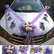 Искусственные Свадебные украшения в форме сердца для автомобиля, набор цветов, венки на День святого Валентина, вечерние, праздничные, декоративные поставки