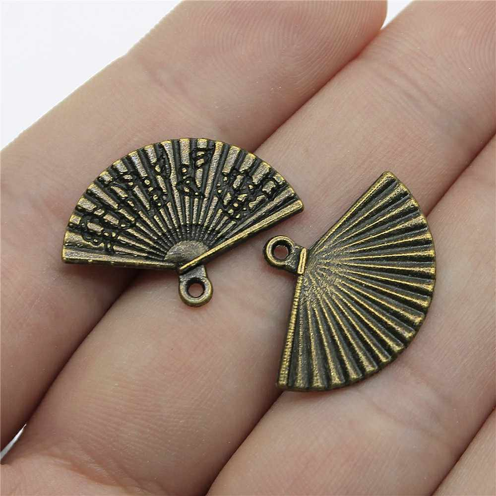 Charms Fan Antique Bronze Color Alloy Diy Jewelry Making Accessories 0.7x0.9 inch (17x24mm) 20pcs/lot