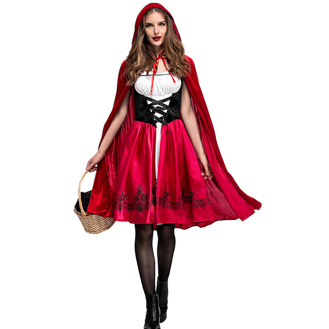 94e28dc418 Adult Women Halloween Costume Little Red Riding Hooded Robe Lady Embroidery  Dress Party Cloak Outfit For Girls Plus Size XXXL