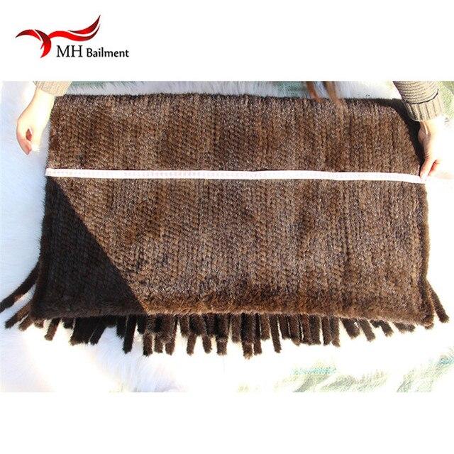 Elegant Real Knitted Mink Fur Shawl Scarf Womens Casual Poncho Knitted Mink Fur Black Scarves Scarf, Hat Glove Sets S#2 6