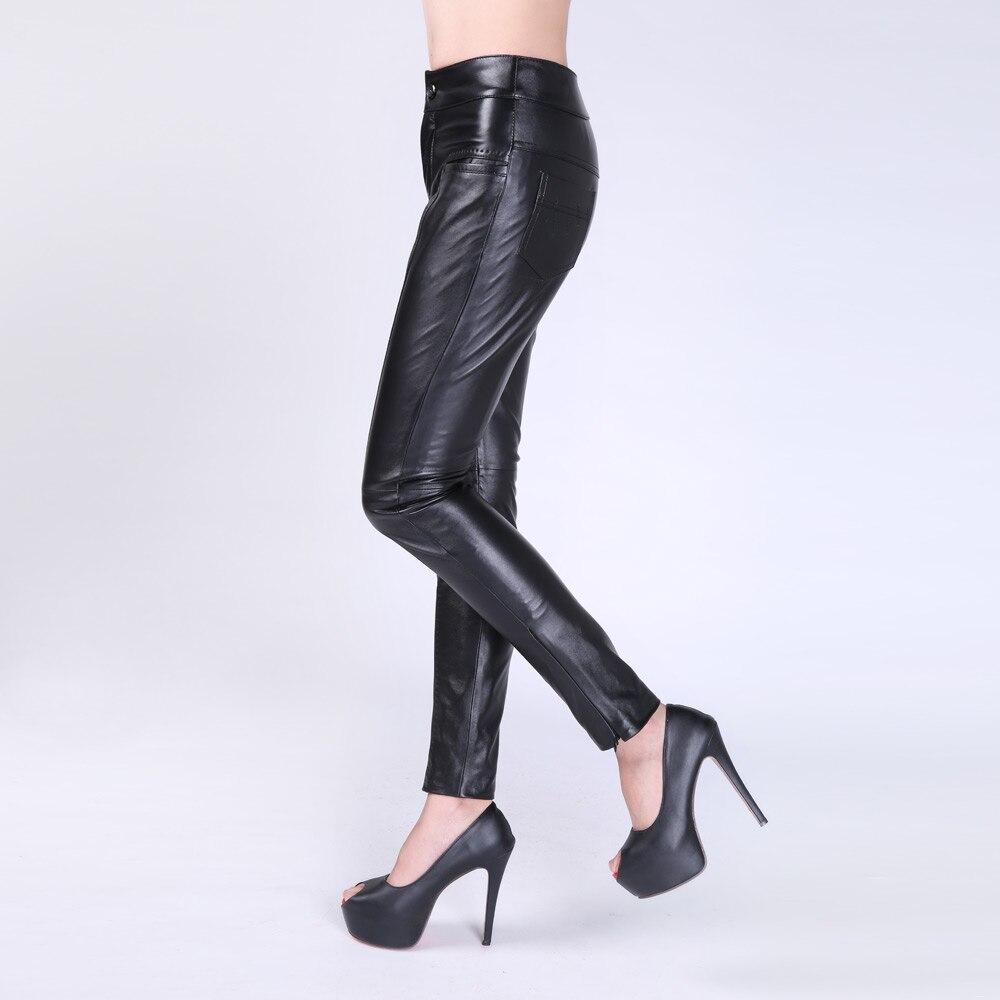 Peau Cuir Femme Femmes Printemps Noir Hiver Crayon De 2016 Mi Mode Mouton Zipper Pantalon En Taille Black Slim Véritable xpwfvIq