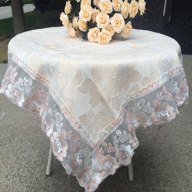 mantel de encaje manteles para mesa bordada la boda de la cubierta bordado calado rosa manteles amarillo