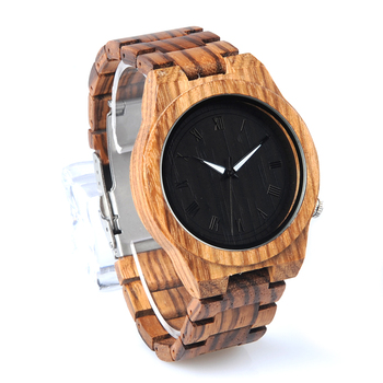 BOBO BIRD Zebra Lightweight Luminous Pointers Men Wooden Watch
