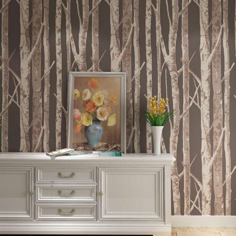 ФОТО 3D Tree pattern Non-woven Woods Wallpaper Roll Modern Wall Paper Designer Simple Wallpaper for Living Room and Bedroom