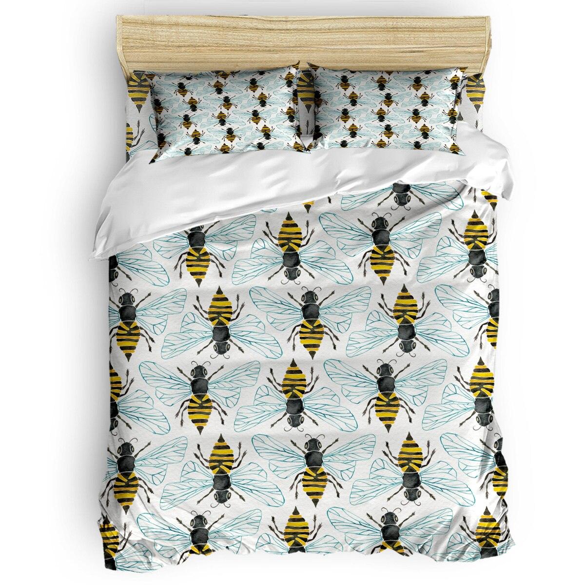 Miel abeille housse de couette 3D coton housse de couette King Size reine taille housse de couette ensemble literie couette unique ensembles de literie