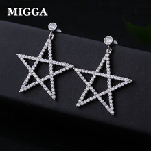 MIGGA White Gold Color Cubic Zirconia Big Star Stud Earrings Luxury CZ Crystal Women Brincos Jewelry