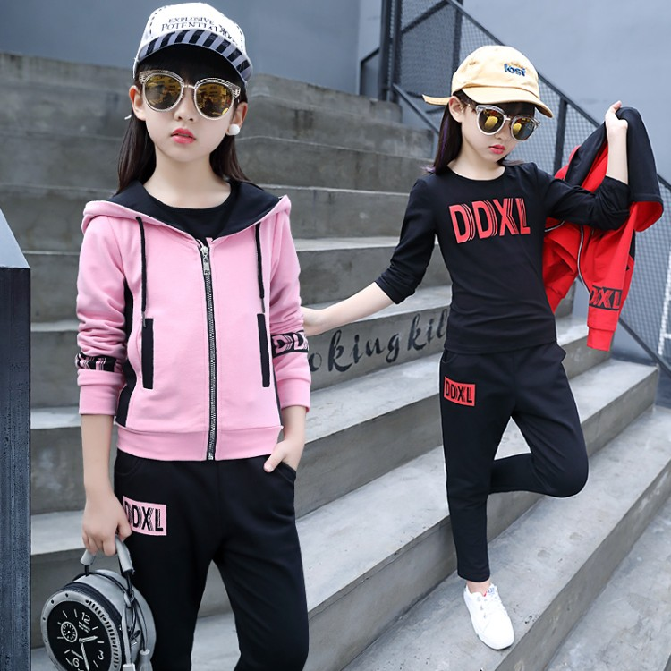 Hot Sale 2018 new girl clothing set 2pcs/set Kids Baby Girls Long Sleeve coat + Pant Sport Clothes Hoodies Children Clothing 2018 kids girls clothes set baby girl summer short sleeve print t shirt hole pant leggings 2pcs outfit children clothing set