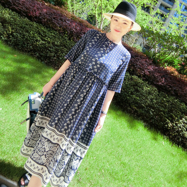 Spring Summer 2019 New Printed Women's Loose Long Dress Round Collar Bohemian Style Outside Real Silk 100% Luxury High End Dress