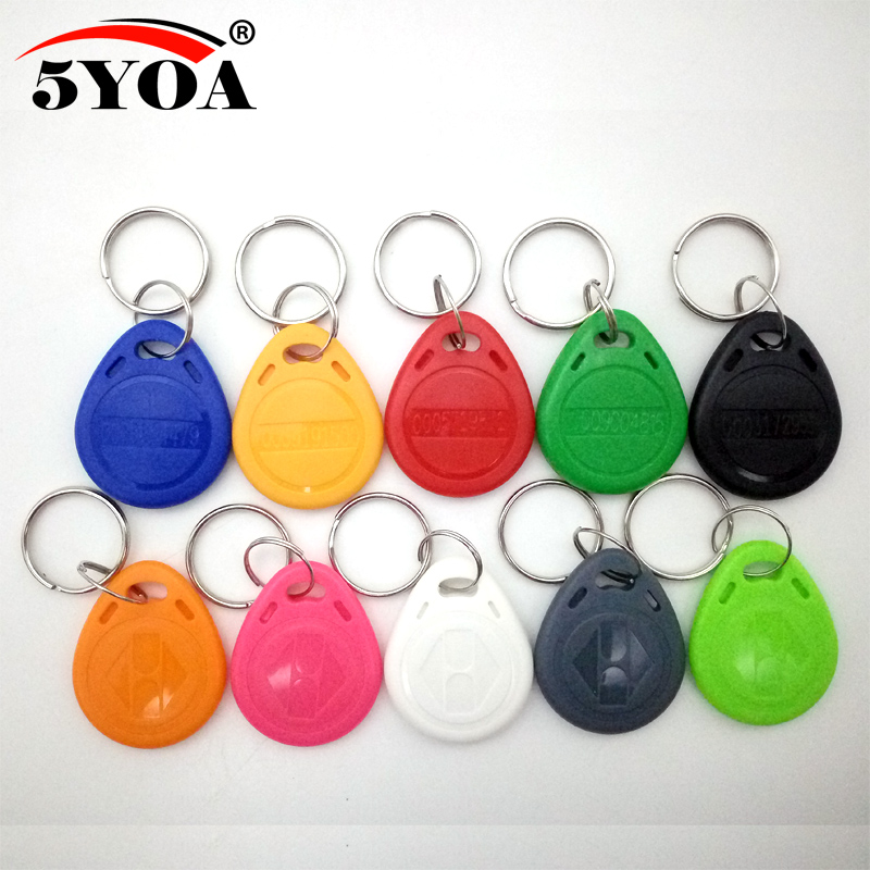 10pcs EM4100 125khz ID Keyfob RFID Tag Tags Llaveros Llavero Porta Chave Card Sticker Key Fob Token Ring Proximity Chip