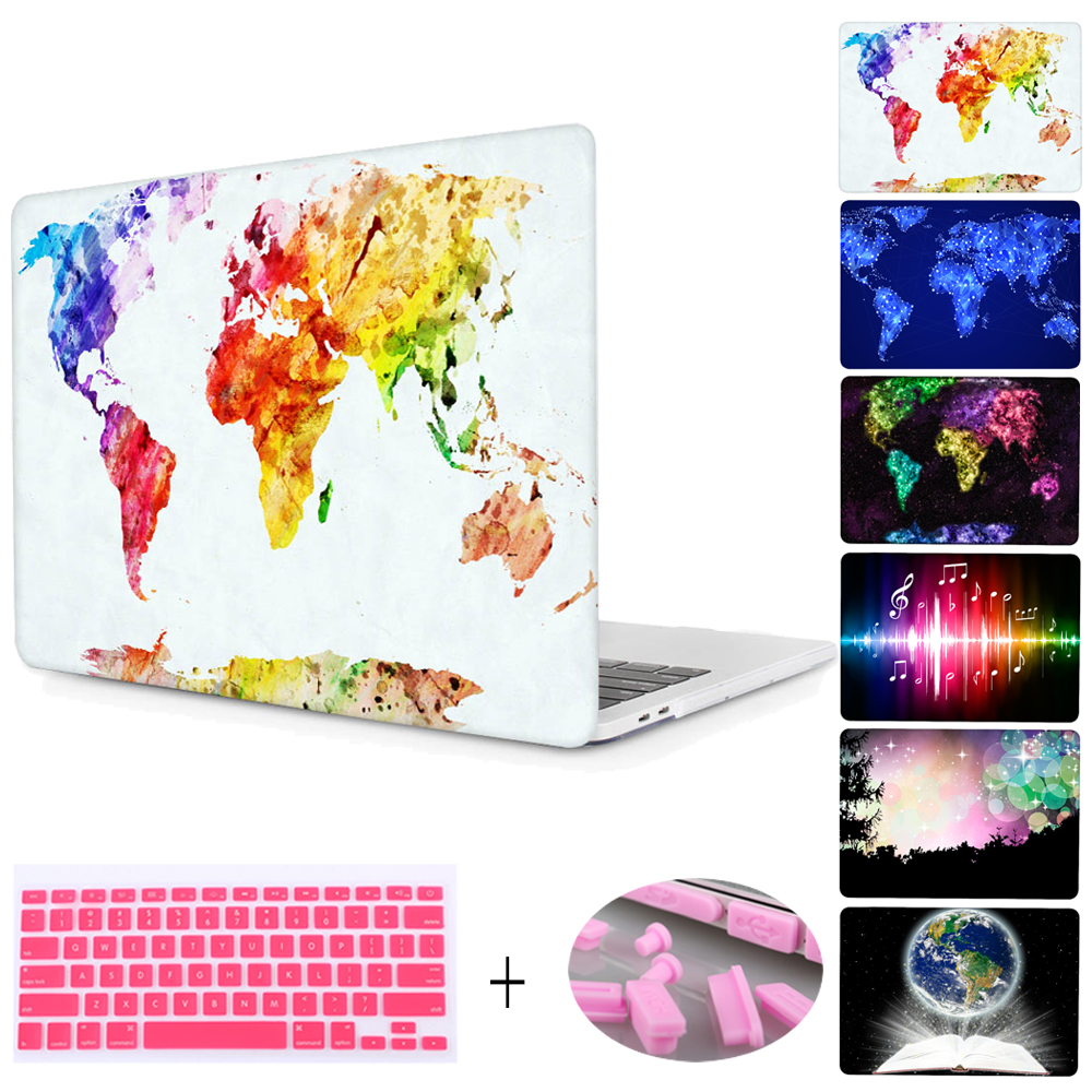 """For Macbook Pro 13 15 with Retina 12"""" Shell World Map Print Plactis Hard Case For Mac Air 11 13 with keyboard cover & Dust plug"""