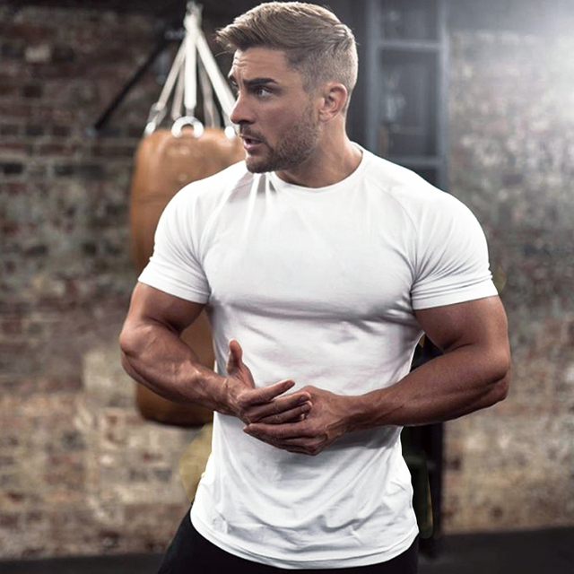 Men Cotton Solid Short sleeve t shirt Summer Gyms Fitness Bodybuilding Workout Slim O-Neck T-shirt Male Tee Tops Casual clothing