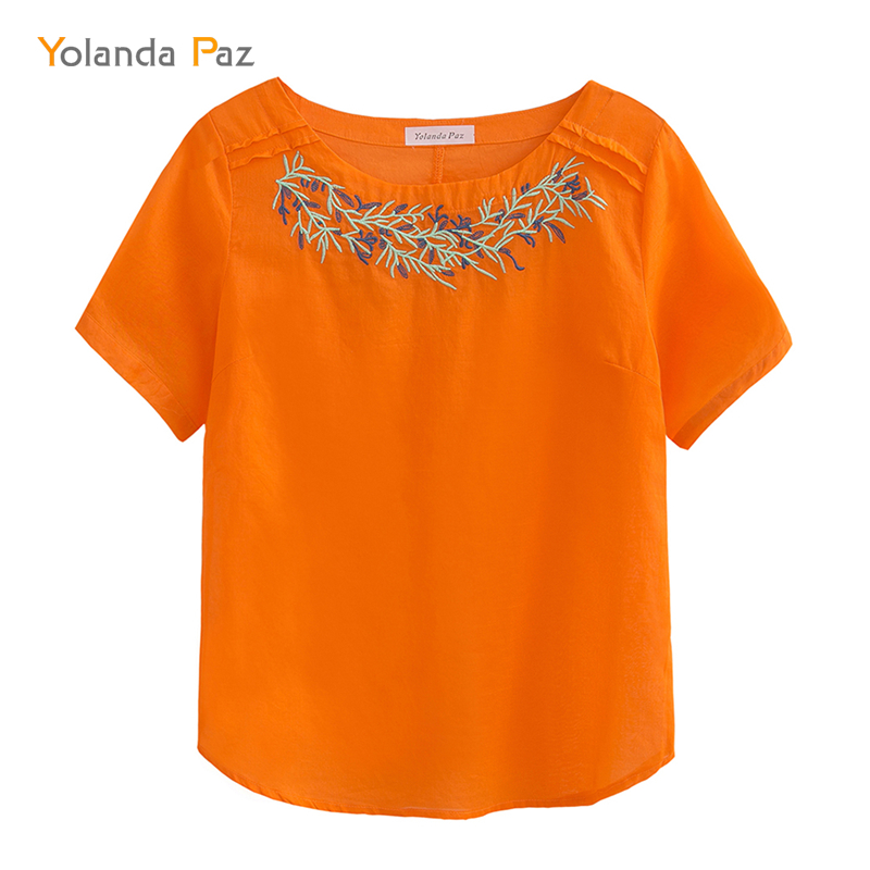 Yolanda Paz Good quality 2018 summer new Women shirts blouses Casual Cotton Reed Embroidered Orange color O-neck tops shirt