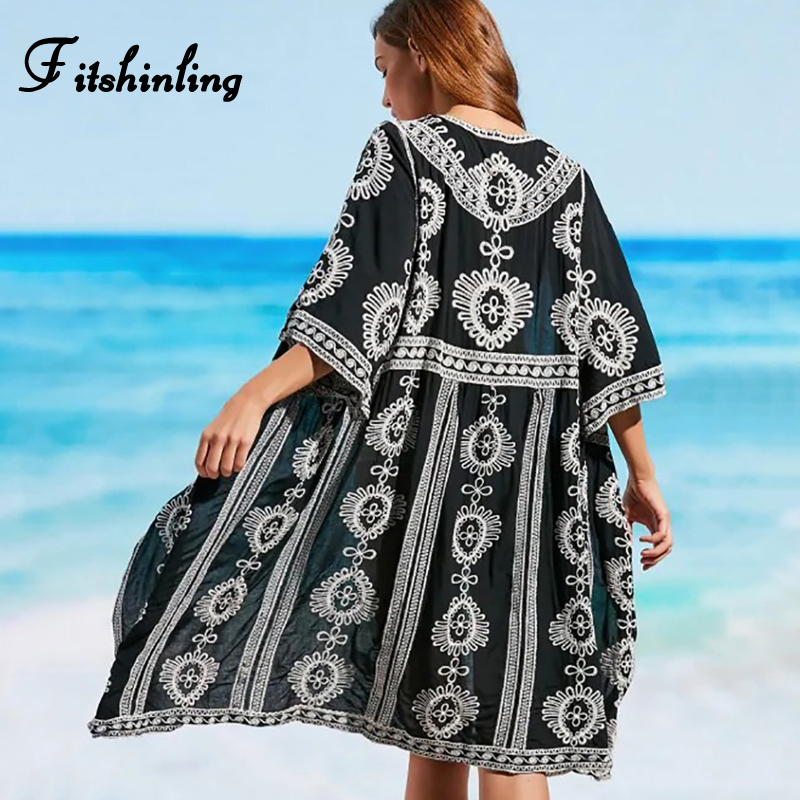 Fitshinling Vintage Embroidery Beach Kimono Swimwear 3/4 Sleeve Autumn Black Bikini Outer Cover Up Boho Holiday Long Cardigan