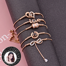 4style Women 100 Languages I Love You Memory chain stainless Titanium steel Rose Gold Roman Numerals fashion Charm bracelet gold stainless steel you