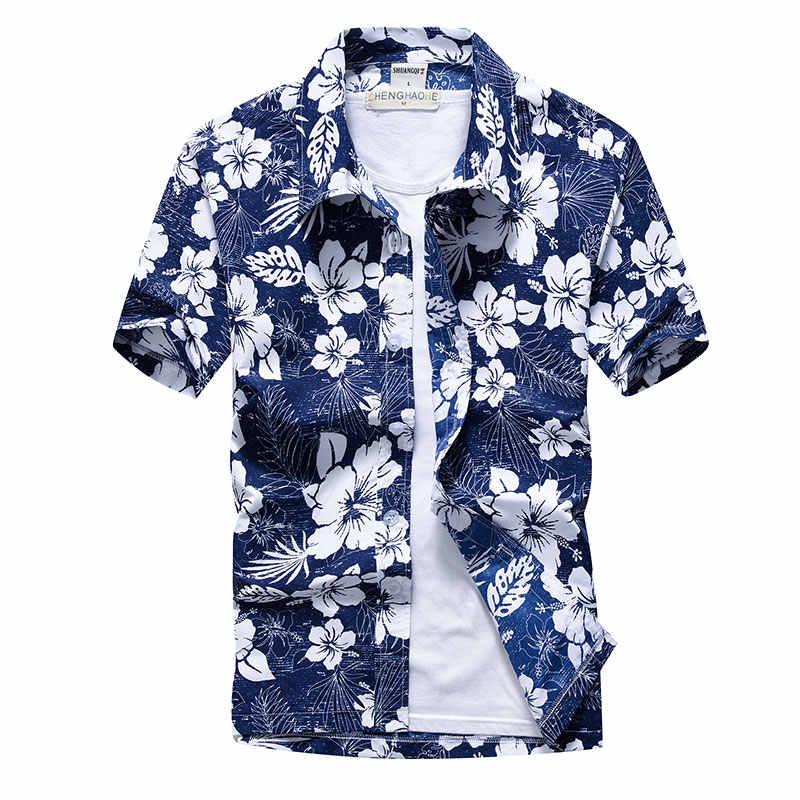 כף עץ מודפס הוואי חוף חולצה לגברים 2019 קיץ קצר שרוול 5XL אלוהה חולצות Mens חג חופשת בגדי תחתונית