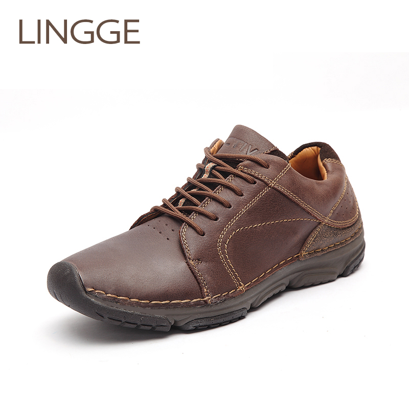 LINGGE Brand Men's Shoes 100% Genuine Leather Men Shoes Light Weight Lace-Up Shoe Comfortable Handmade Shoe For Male