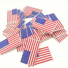100pcs 4.5*8.0cm US American Patches Iron Embroidered Patch Applique On Sewing Accessories Badge Stickers