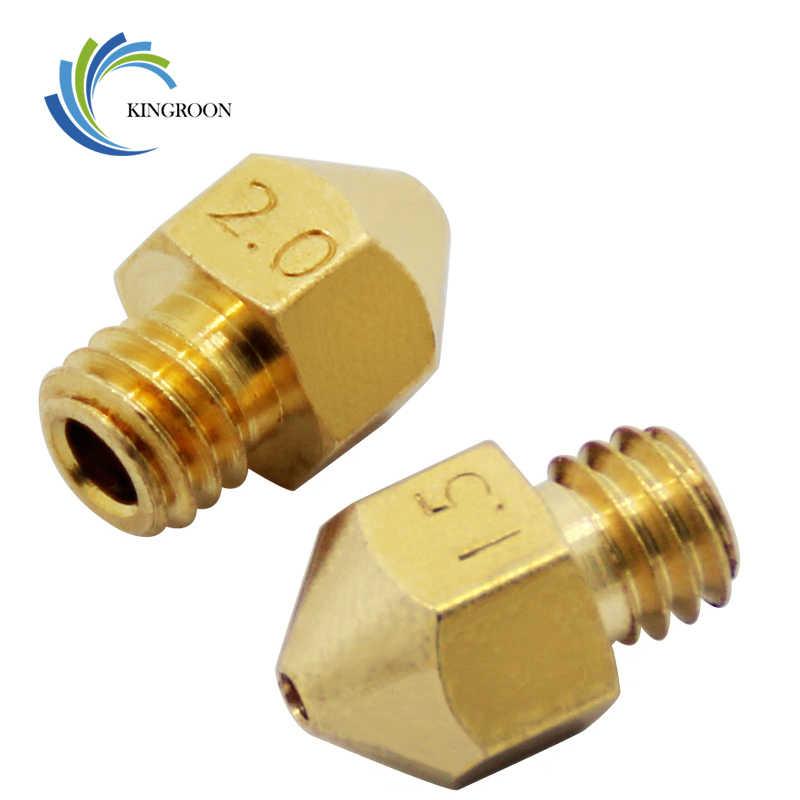 Kaliber Besar Tembaga Nozzle 1.0 Mm 1.5 Mm 2.0 Mm Diameter Yang Lebih Besar Bagian M6 untuk 1.75 Mm 3 Mm Filamen lubang Besar Kuningan 3D Printer Bagian