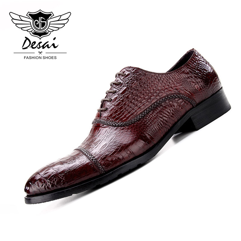 DESAI 2019 New Arrival Men Crocodile Business Dress Shoes Pointed Toe Genuine Leather Shoes Men Oxford