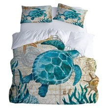 Duvet Cover Set Of 3 Sets Of Polyester Soft And Breathable, Home Textile Seaweed Turtle Print Bedding Including 1 Quilt Cover(China)