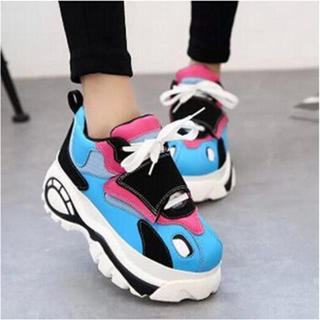 Women shoes 2017 summer woman platforms shoes women Retro shoes woman Lace-Up Trifle High Heels Height Increasing Boots