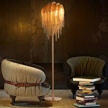 Luxury Silver/Gold Aluminum Tassel Standing Floor Lamp Post Modern Floor Lamps For Living Room Bedroom Study Room Lamparas De Pe