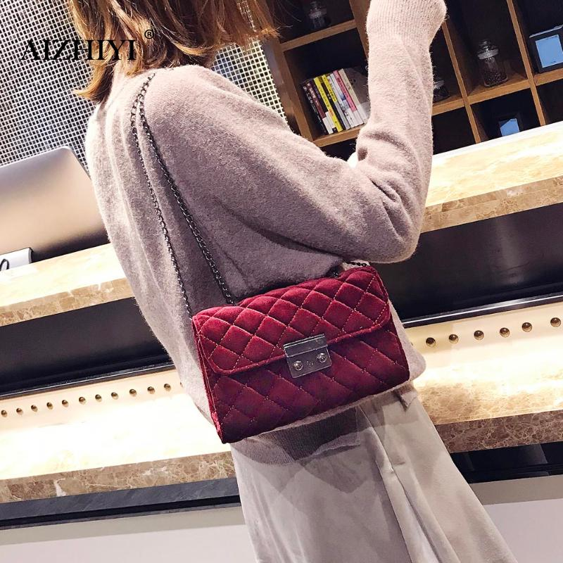 Winter Mini Pleuche Small Shoulder Bags Women Chain Messenger Cross Hand Bag Vintage Clutch Crossbody Bags Women Handbag