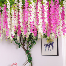 12pcs/lot Wedding Decor Artificial Silk Wisteria Flower Vines hanging Rattan plastic flowers Garland fake leaves For Home Garden garland flowers wedding decoration artificial hydrangea vine party plastic flowers wall decor rattan silk flower wisteria wreath