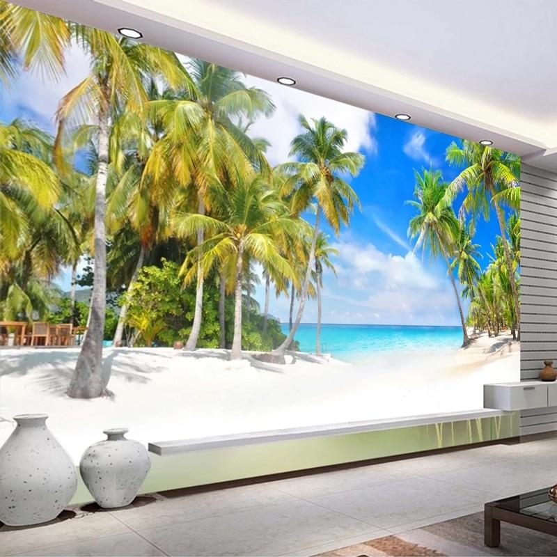 Пользовательские 3D Настенные обои кокосовое дерево морской пейзаж настенная живопись фото фон настенная бумага для гостиной спальни|Обои|   | АлиЭкспресс