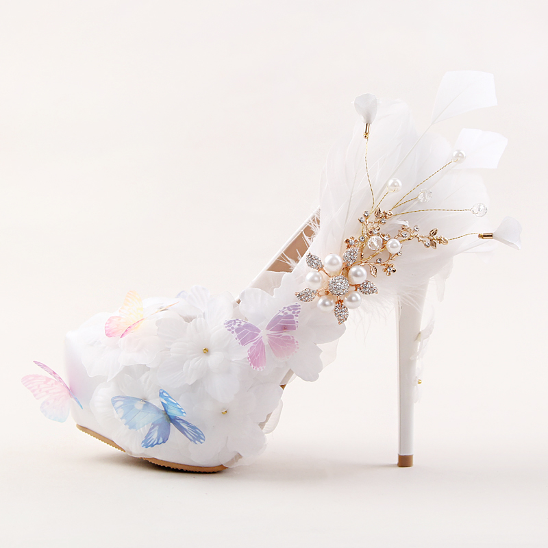 shoes woman Beautiful white butterfly Flower Rhinestone BRIDE shoes high-heeled super feather dress party shoes wedding shoes shoes blue lace flower bride white pearl diamond wedding shoes pointed high heeled sandals dress shoes bag set pink shoes set
