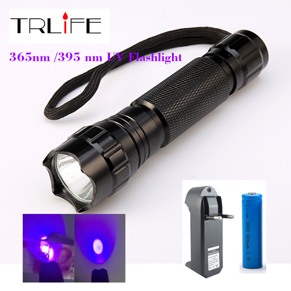 501B 3W purple light Ultraviolet Luxeon 395-410nm UV LED Flashlight+18650 Rechargeable Battery +Charger Kit