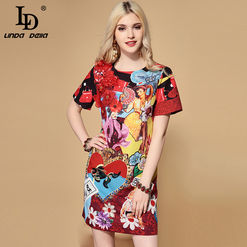 LD LINDA DELLA 2019 Fashion Runway Summer Dress A Line Women s Short Sleeve Crystal Sequin