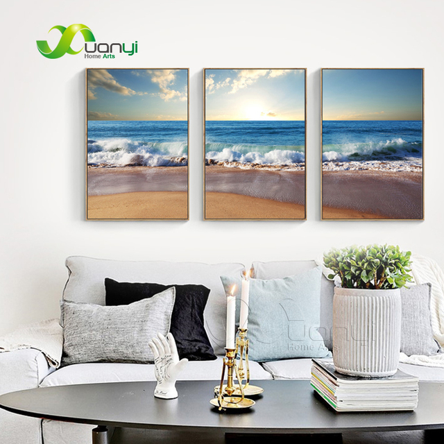 3 panel canvas art printed blue sea painting wall art picture modern