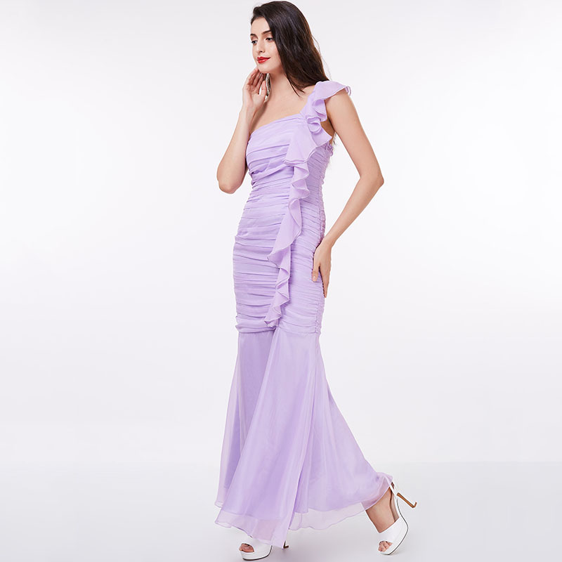 Dressv Lilac Evening Dress Cheap One Shoulder Sheath Ruched Floor
