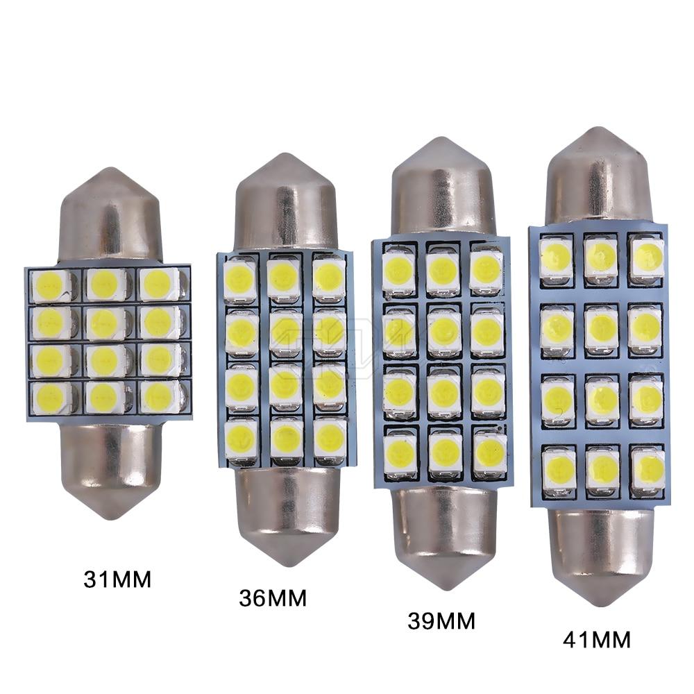 31mm//36mm//39mm//42mm Canbus SMD LED Bombillas Luz Interior Coche Light Error Free